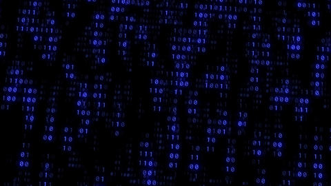 Binary Matrix Wall Blue Background Animation