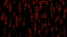 Binary Matrix Wall Orange Background stock footage