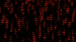 Binary Matrix Wall Orange Background Animation