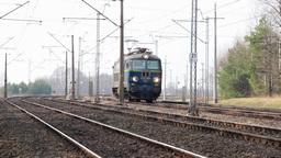 Electric Locomotive On Railway stock footage