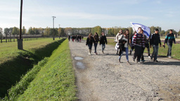 Visitors At Auschwitz Birkenau Museum stock footage