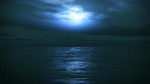 (1163) Blue Full Moon Tropical Ocean Waves Romanti Animation