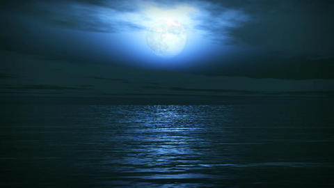 (1163) Blue Full Moon Tropical Ocean Waves Romanti Stock Video Footage