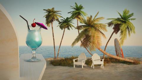 (1191) Romantic Tropical Beach Ocean Getaway Escape Vacation Adventure Animation