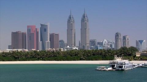 dubai skyline from palm Footage