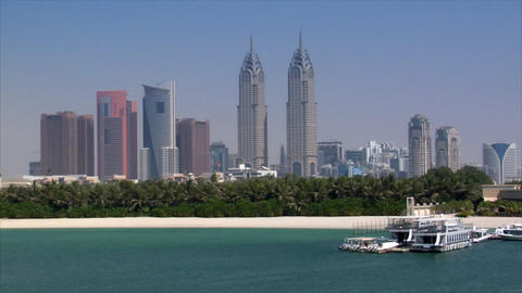 dubai skyline from palm Stock Video Footage