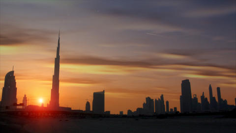 beautiful sundown dubai burj Khalifa Stock Video Footage