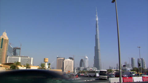 traffic burj khalifa Dubai pan skyline Stock Video Footage