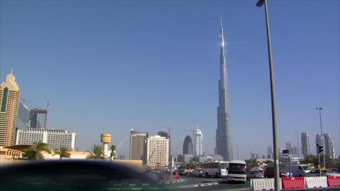 traffic burj khalifa Dubai pan skyline Stock Video Footage