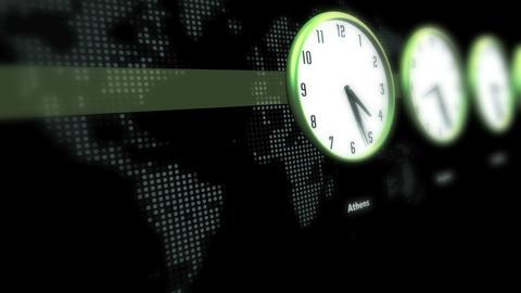 Global Time Clocks Animation