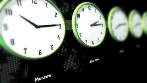 Global Time Clocks Stock Video Footage