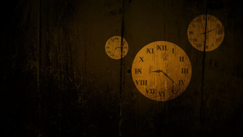 Grungy clock faces showing passing of time Animation