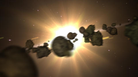Asteroids ans sun loop Stock Video Footage