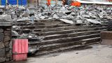 Tractor With Paving Breaker Destroy Stair stock footage