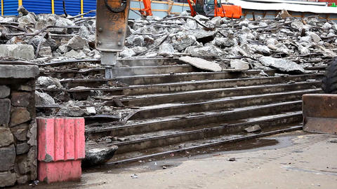 tractor with paving breaker destroy stair Stock Video Footage