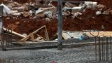Machine Pour Concrete On Foundation stock footage