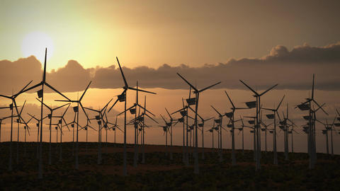 1194 HDjpg Wind Turbines Farm Alternative Energy Power Electricity Fuel Desert Prairie Sunset Clouds Animation