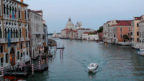 View on channel from Rialto bridge sunset Footage