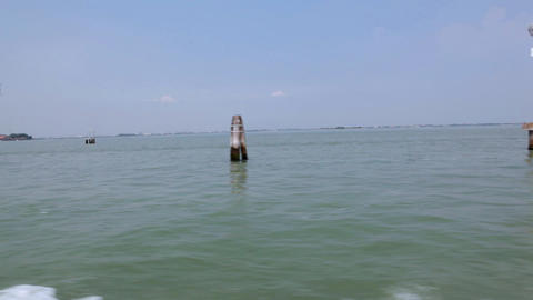 Sail on taxi in open sea along column Stock Video Footage