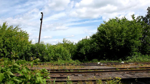 Old Rail road in windy day Stock Video Footage