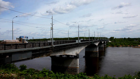 Bridge over river with transport Stock Video Footage