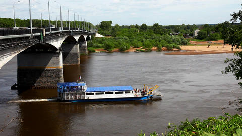 Vessel on river time lapse Stock Video Footage