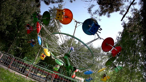 Carousel rotation in park amusement Stock Video Footage