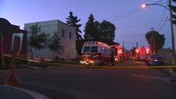 HD2008 8 1 1 Fire scene early dawn Stock Video Footage