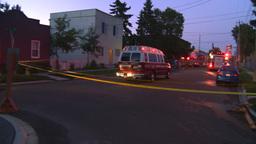 HD2008-8-1-3 Fire scene early dawn Stock Video Footage
