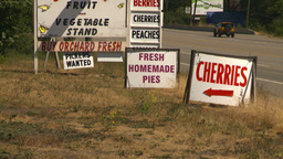 HD2008-8-2-21 fruit stand cherries pies veggies signs Stock Video Footage