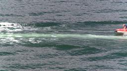 HD2008-8-3-32 Okan Lake motorboat rubber tube Stock Video Footage