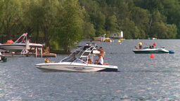 HD2008-8-4-9 Kal lake motorboat Stock Video Footage