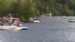 HD2008-8-4-9 Kal lake motorboat Stock Video Footage