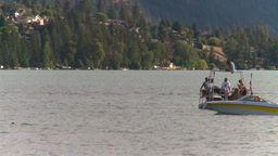 HD2008-8-4-18 Kal lake motorboat Stock Video Footage