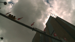 HD2008-8-8-13 drive up DT buildings clouds Stock Video Footage