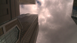 HD2008-8-8-15 drive up DT buildings clouds Stock Video Footage