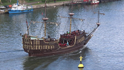Passenger Ship Stylized On XVI Century Galleon stock footage
