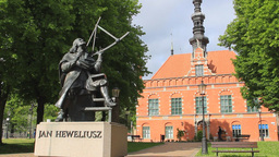 Johannes Hevelius monument in Gdansk, Poland Live Action