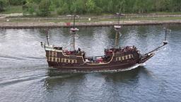 Passenger ship stylized on XVI century galleon Footage