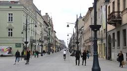Lodz, Poland city center - Piotrkowska street Footage