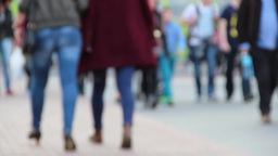 People in front of a large shopping mall defocused Footage