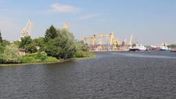 Harbor Cranes - Szczecin, Poland stock footage