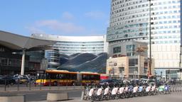 Warsaw, Poland. City center. Moder shopping center Footage