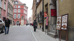 Tourists in the old town in Warsaw, Poland Footage