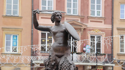 Mermaid Statue, Market Place, Warsaw Old Town Stock Video Footage