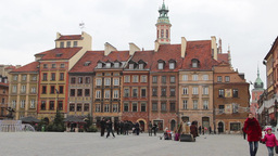 Tenements in the old town in Warsaw, Poland Live Action
