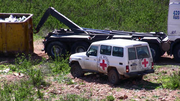 Vehicle Of International Committee Of The Red Cros stock footage