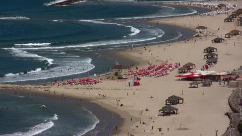 Tel Aviv beaches aerial Footage