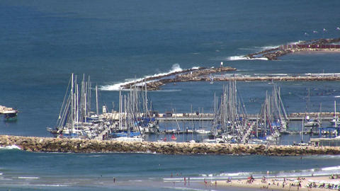 Tel Aviv beach and marina aerial Footage