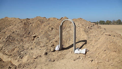 A Model Of Concrete Arch Support To Terror Tunnel  stock footage
